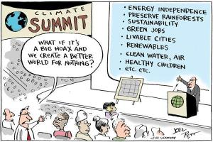 "This comic strip drawn by Joel Pett on December 13, 2009 illustrates the consequences of believing in the global warming ""hoax."""