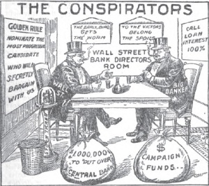 This cartoon was drawn by Alfred Owen Crozier in 1912 and shows the power and control of the banking industry.