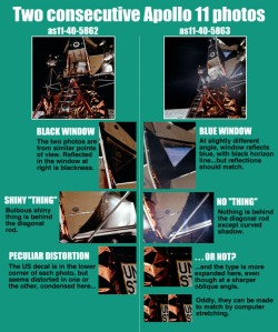 "This is one of the pieces of photo evidence used on Eric Dubay's site, ""An Apollo Hoax Analysis."" In this graphic, he points out the flaws and discrepancies between photos from the supposed moon landings. Images like these were common on websites supporting this conspiracy theory."