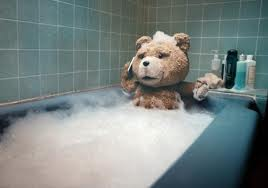 Ted discusses his plan of attack, while bathing, with Sir Master Leyva
