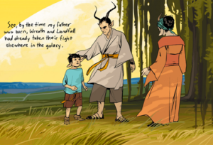 I think that the soft somewhat muted backgrounds help the characters of Saga to stand out that much more.
